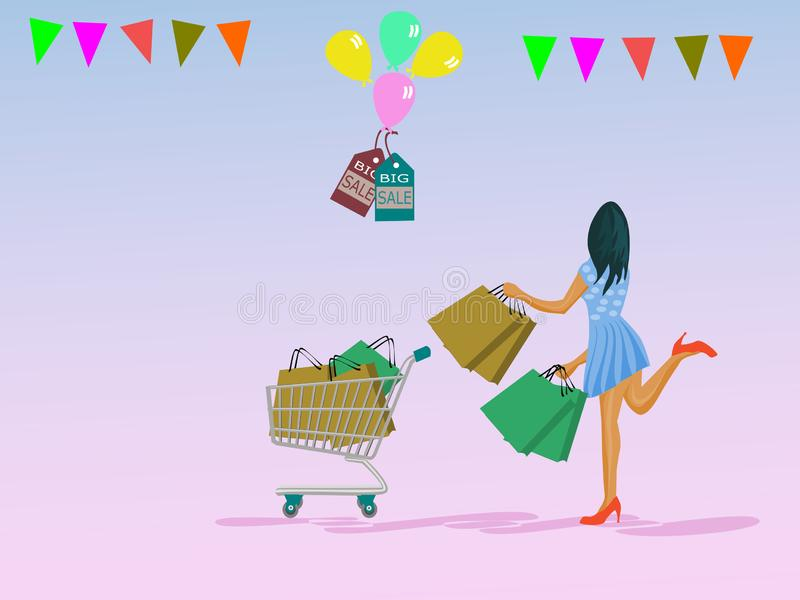 A woman is carrying a paper bag and putting a cart in which she goes shopping. With balloons, labels, discounted colored paper products on the top.Pink stock illustration