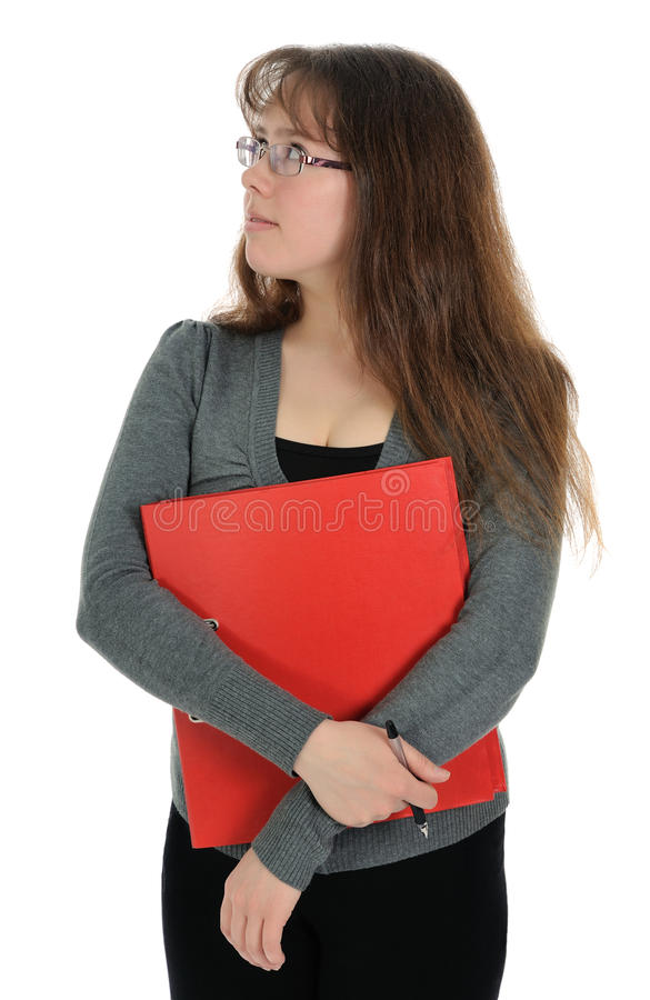 Download The Woman Carrying Red Folder Stock Image - Image of young, office: 19009667