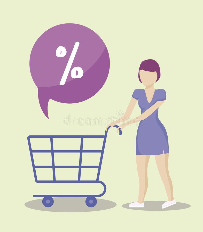Woman with cart shopping. Vector illustration design royalty free illustration