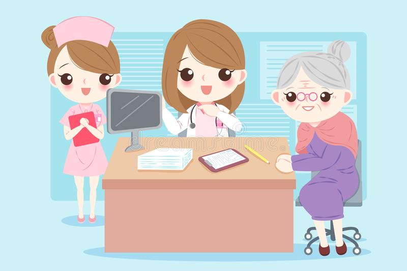 Cartoon doctor with patient. Woman cartoon doctor with patient in the hospital royalty free illustration