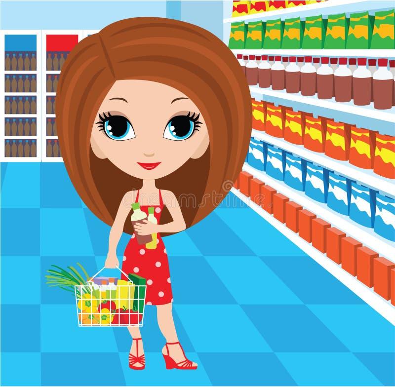 Woman cartoon in a supermarket vector illustration