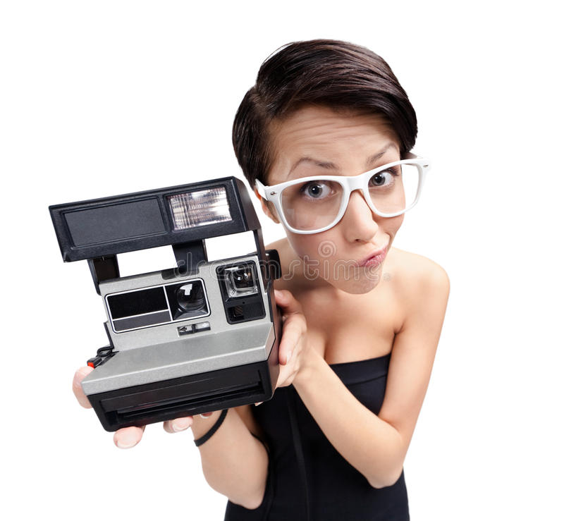 Woman With Cassette Photographic Camera Royalty Free Stock Images