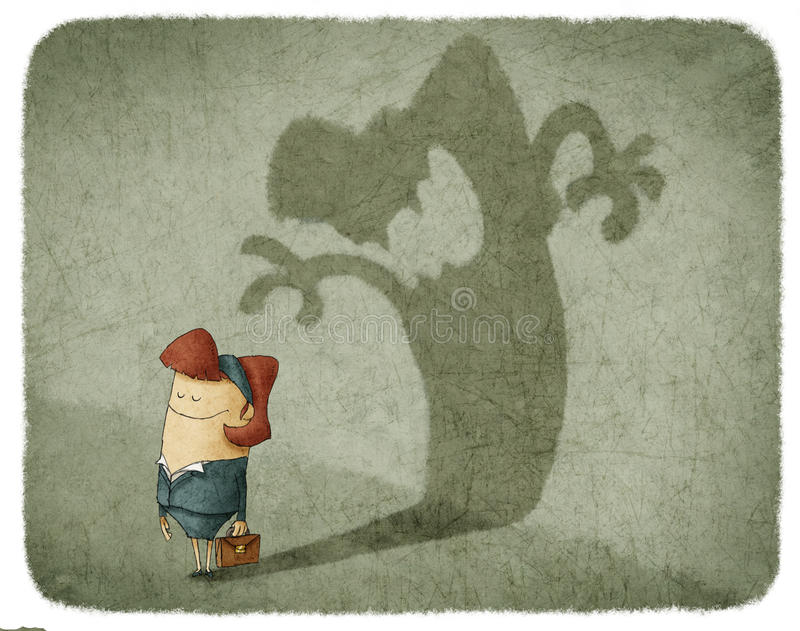 Woman casting shadow of an angry woman stock illustration