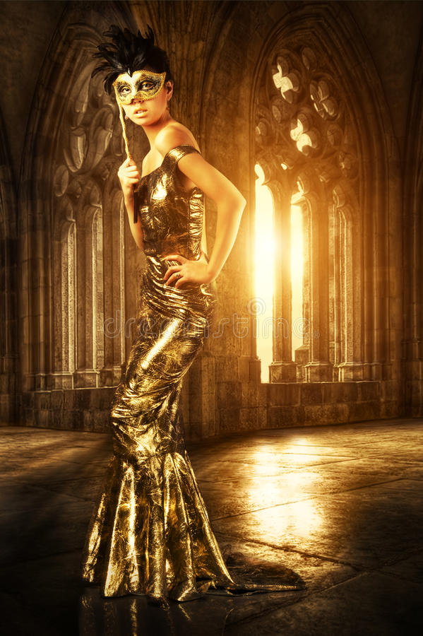 Download Woman in castle stock photo. Image of golden, alone, beautiful - 21449208
