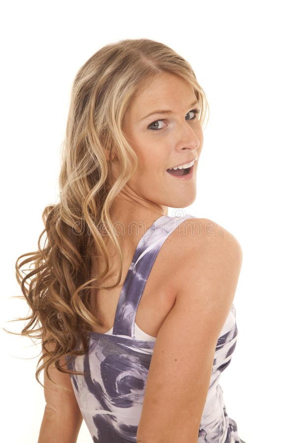 Woman casual tank top look over shoulder royalty free stock image
