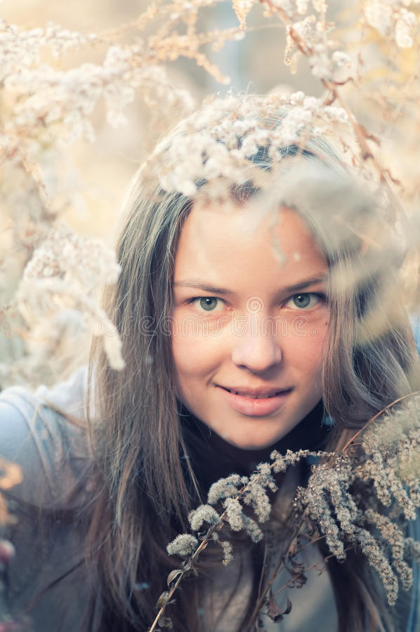 Woman in casual wear over nature royalty free stock image