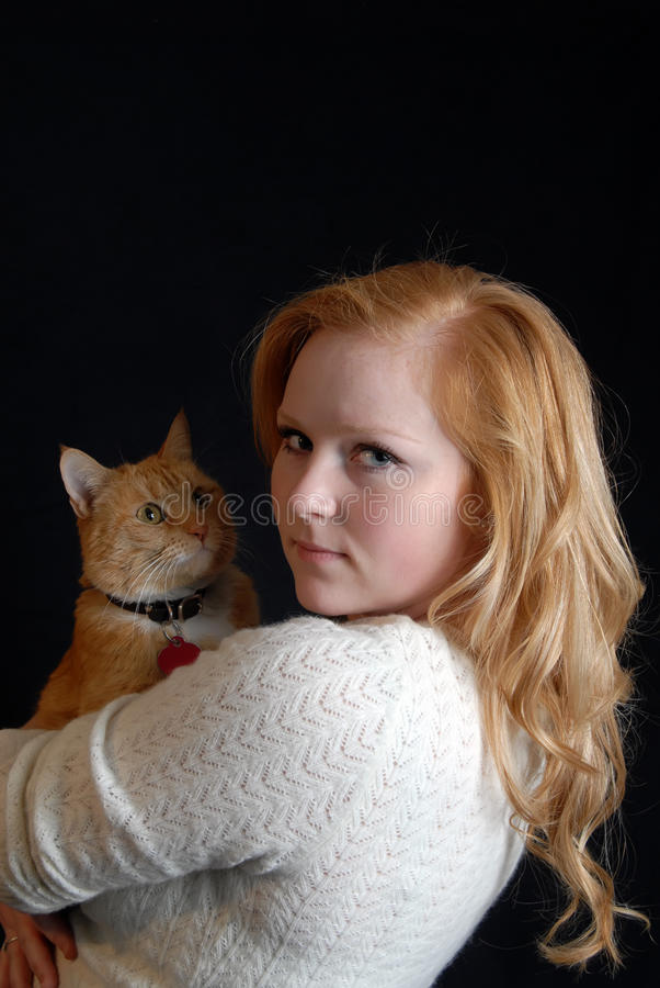 Download Woman and  cat stock image. Image of girl, sweater, blond - 17719867