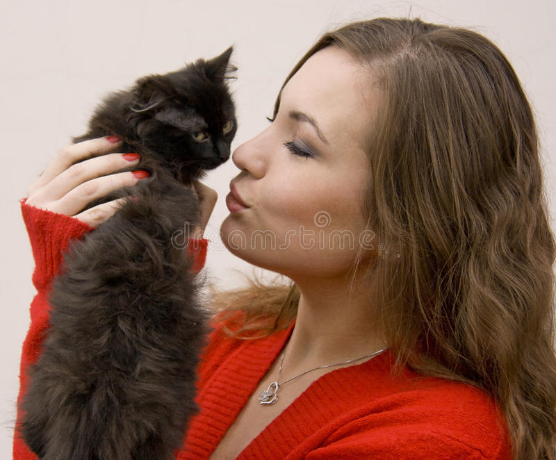 Download Woman with a cat stock image. Image of beauty, love, femininity - 28047801