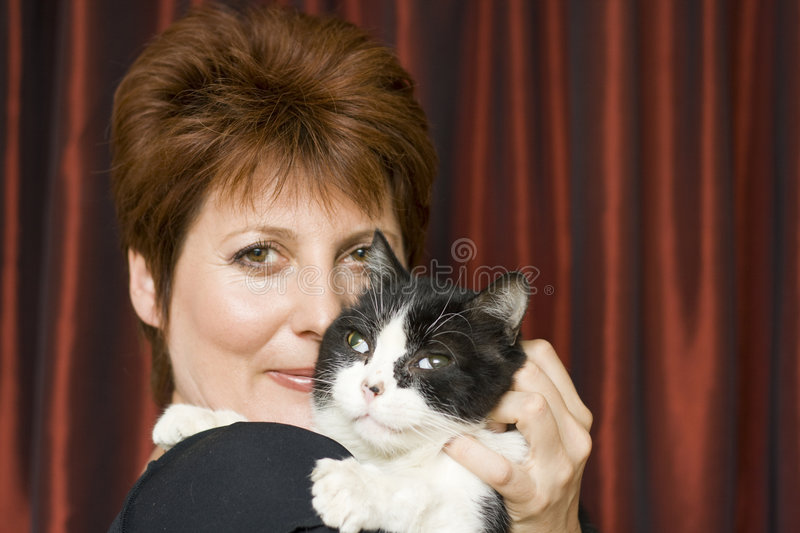 Download Woman with a cat stock photo. Image of profile, animal - 5877522