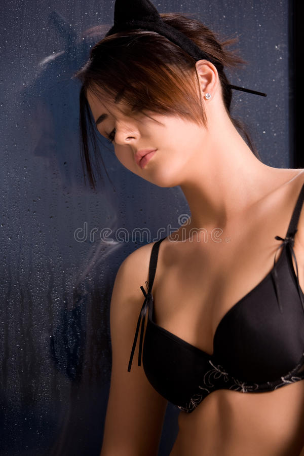 Download Woman With Cat Ears At The Rainy Window Stock Image - Image: 13289319