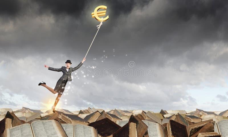 Woman catch euro royalty free stock photo