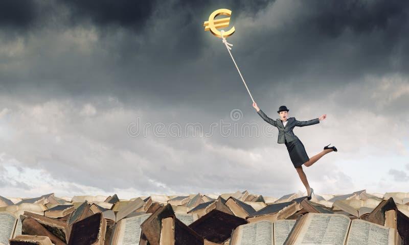 Woman catch euro royalty free stock photos