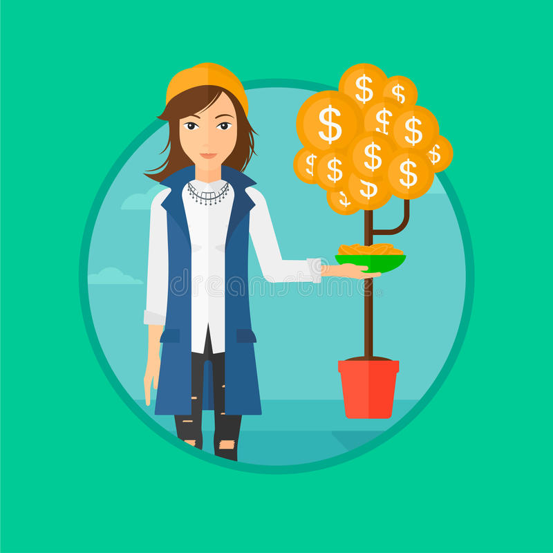 Woman catching dollar coins. A woman catching dollar coin from money tree. Vector flat design illustration in the circle on green background vector illustration