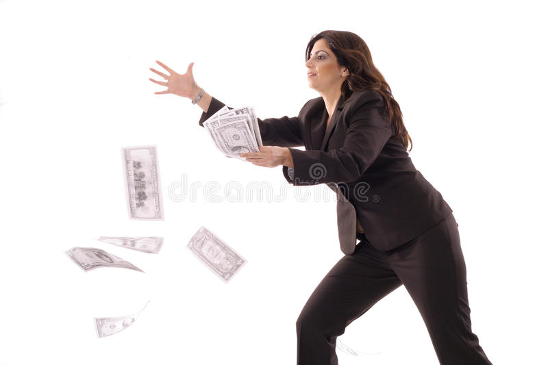 Woman Catching Money In The Air Stock Images