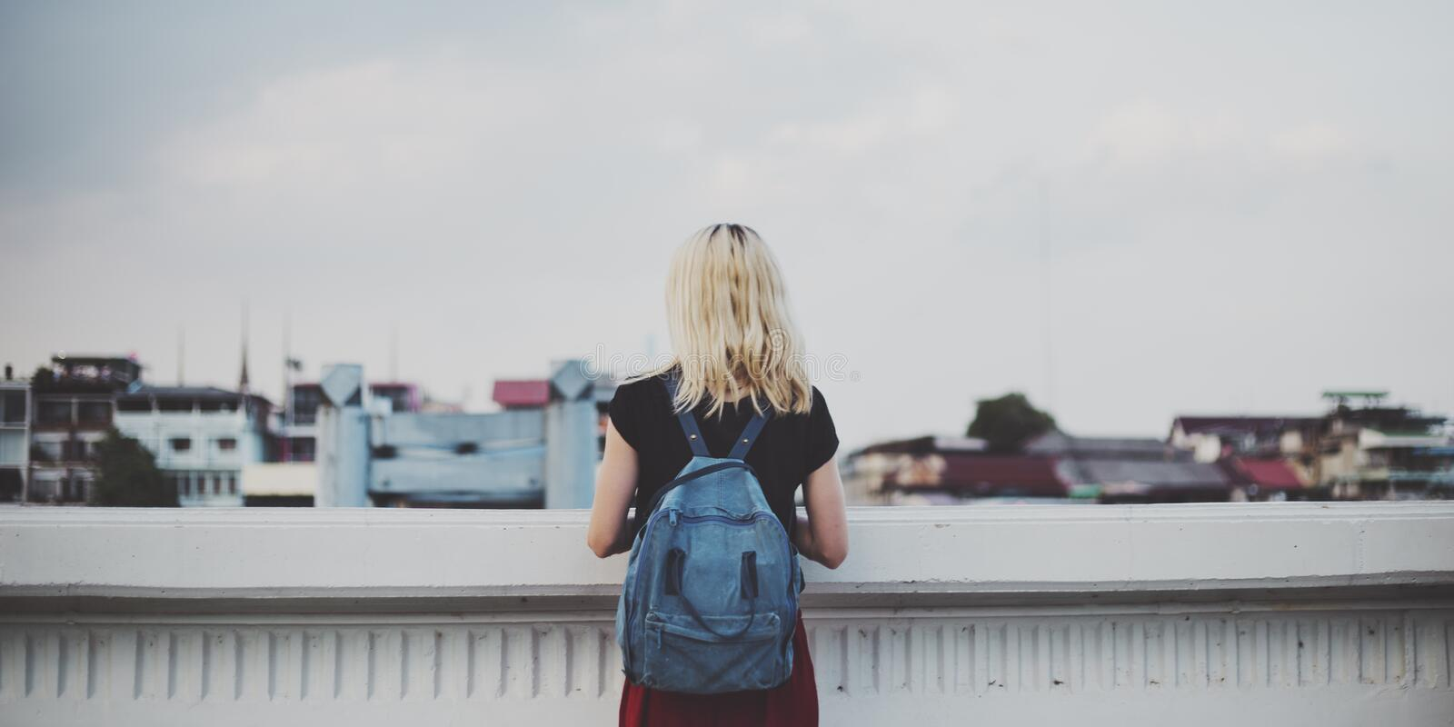 Woman Caucasian Traveler Explore Sky Concept royalty free stock photo