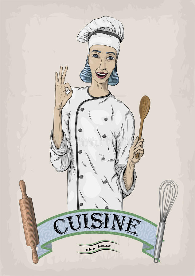 Woman caucasian young cook chef worker in chef`s jacket, cap wit. H happy smile portrait. Vector close-up vertical beautiful colorful black linear illustration stock illustration