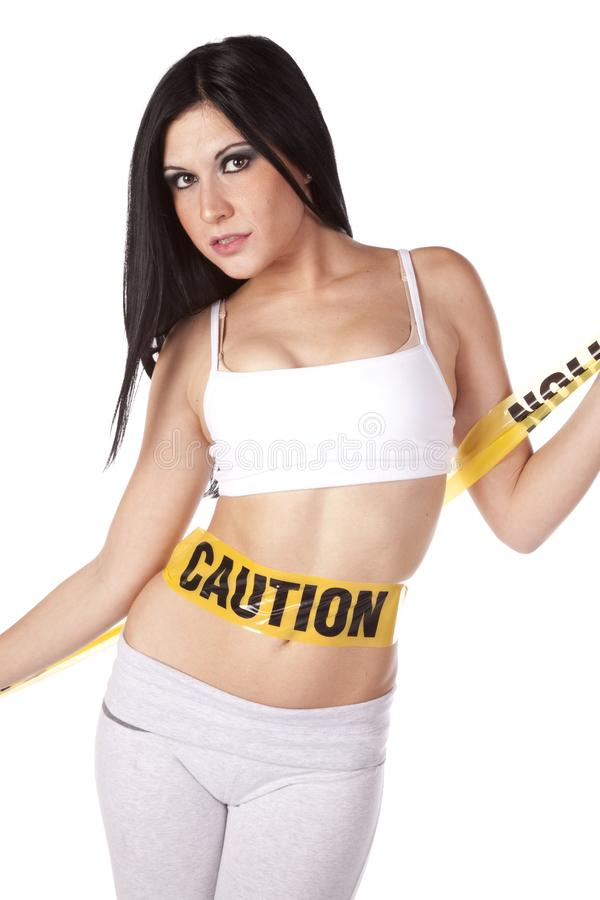 Woman caution on belly
