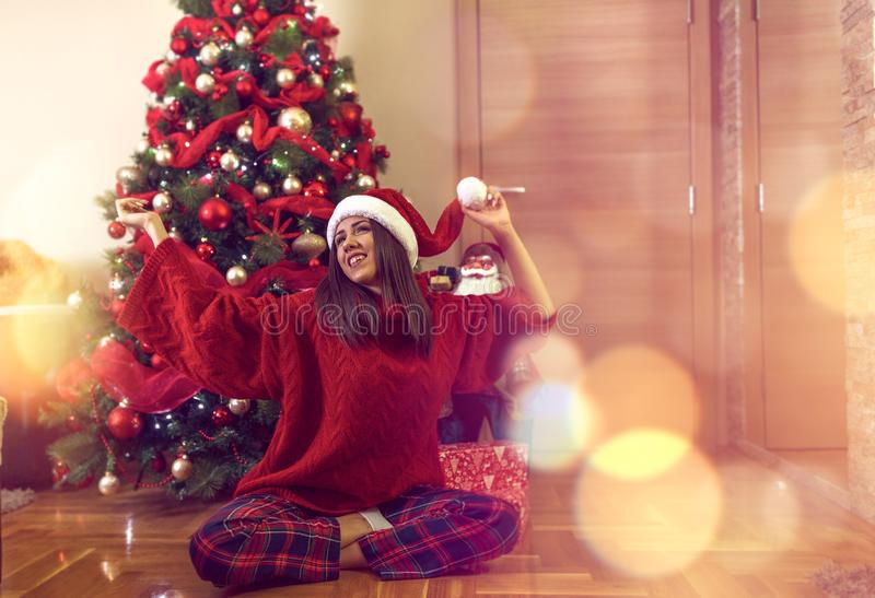Woman celebrate christmas.Holiday .party royalty free stock photo