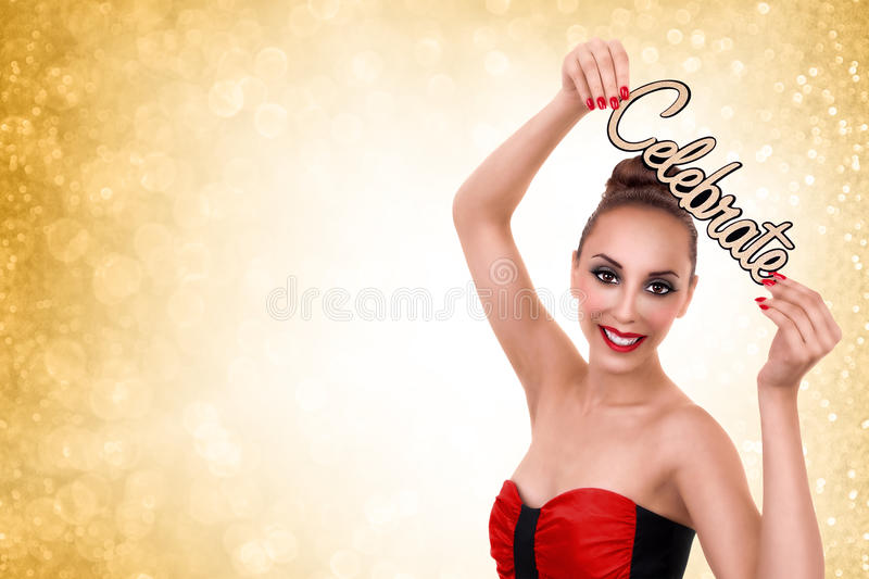 Woman Celebrate New Years or Christmas Party. Woman celebrate holidays. Christmas and New Years Eve stock photos