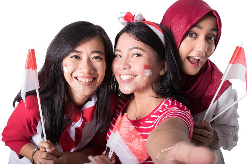Woman celebrating indonesian independence day stock images