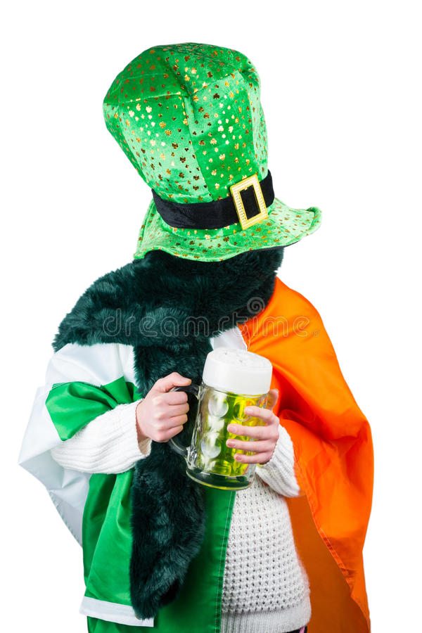 Woman celebrating Saint Patricks day royalty free stock photography