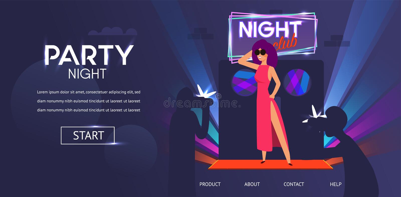 Woman Celebrity Posing at Night Club Door Entrance royalty free illustration