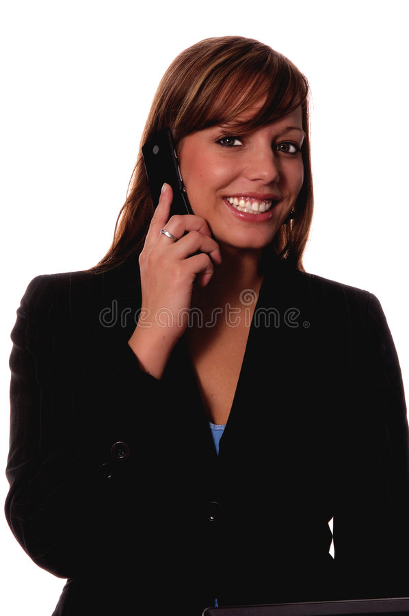 Woman on cell phone stock images