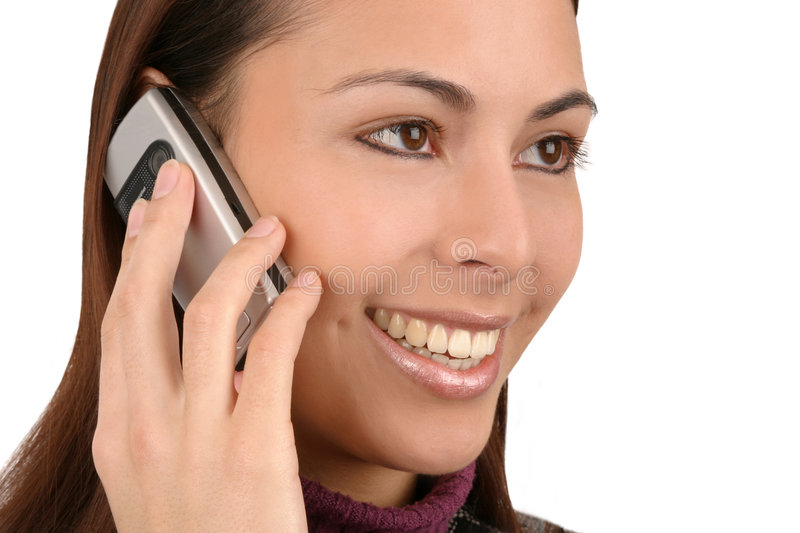 Woman with cell phone stock image