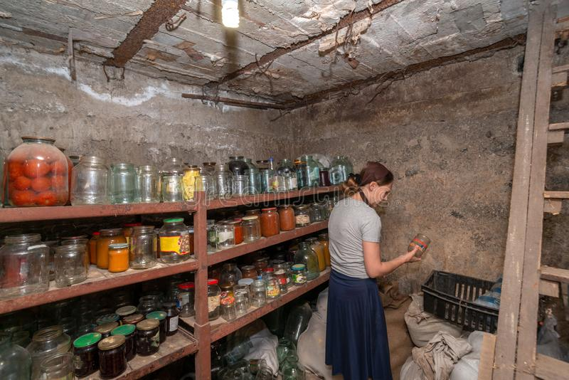 The woman in the cellar is gray-haired, the girl prepares food for the winter, canned food in glass jars on the rack.  stock photo