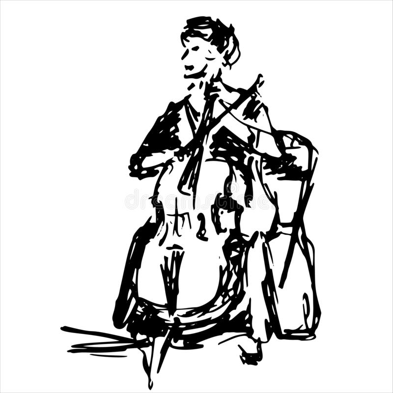 Woman cellist siting and playing cello vector silhouette. Music artist girl play string instrument. Jazz woman street vector illustration