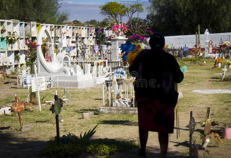 Woman in Cemetery, Mexico royalty free stock photography