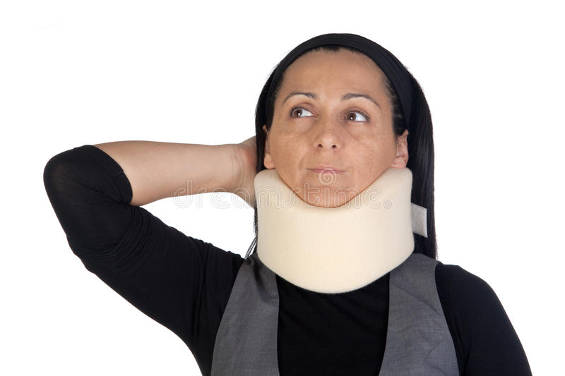 Woman with cervical collar. Isolated on white background stock images