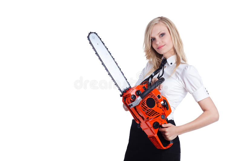 Woman with chainsaw stock image