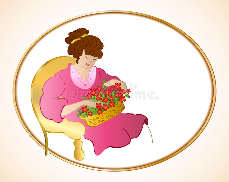 Woman on chair with flowers. Vector. Background stock illustration