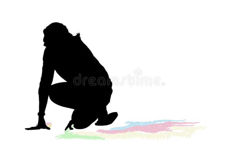 Download Woman chalk drawing stock illustration. Illustration of colors - 194614