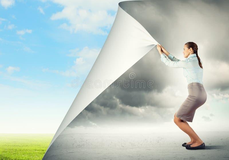 Woman changing reality stock image