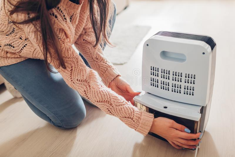 Woman changing water container of dehumidifier at home. Dampness in apartment. Modern air dryer royalty free stock photo