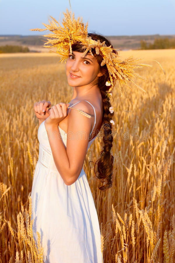 Woman With Chaplet In White Dress In Field Stock Image ...