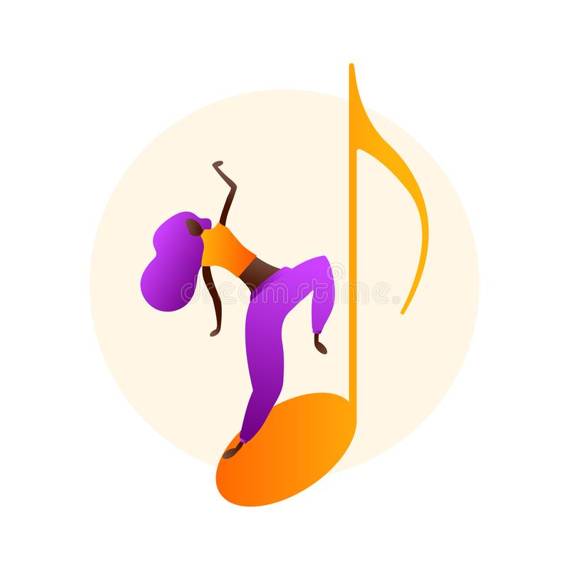 Woman character dancing in flat style royalty free illustration