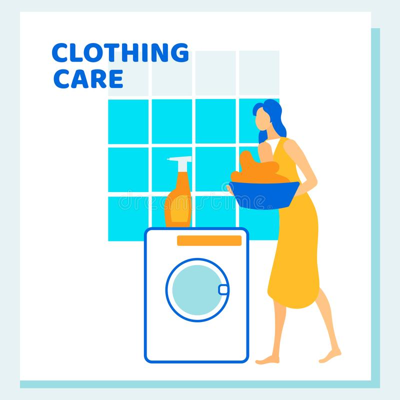 Woman Loading Dirty to Washing Machine, Routine stock illustration