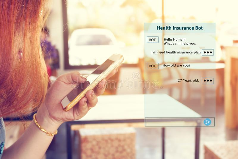 Woman chatting with automatic bot on smartphone and talking about consulting health insurance. royalty free stock images