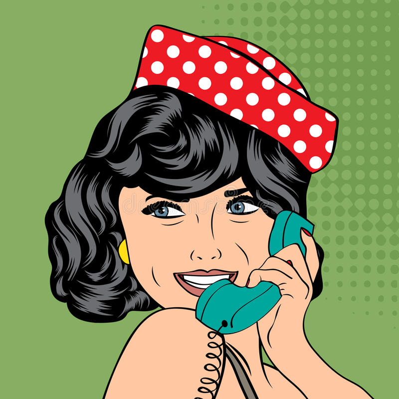 Free Woman Chatting On The Phone, Pop Art Illustration Stock Image - 38777621