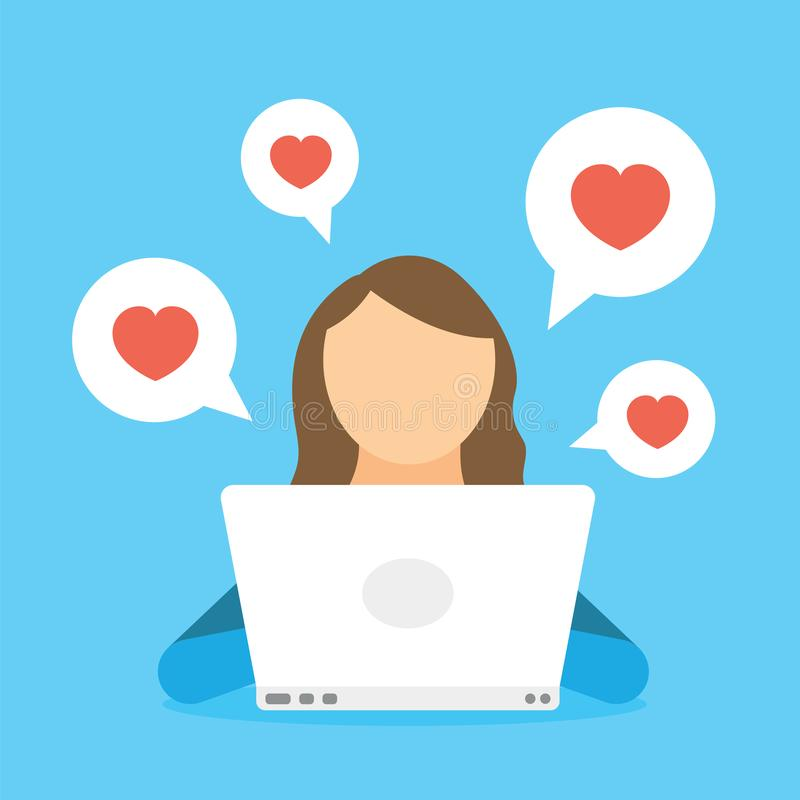 Woman chatting in social network by laptop and receiving like heart, subscribers and friends. Woman blogging in internet stock illustration