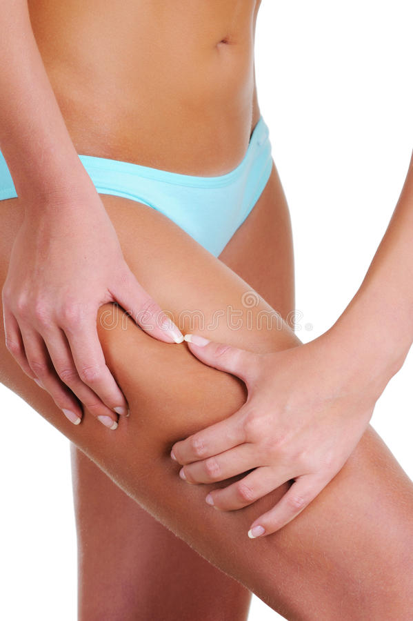 Woman  Check Skin On A Cellulitis Stock Photo