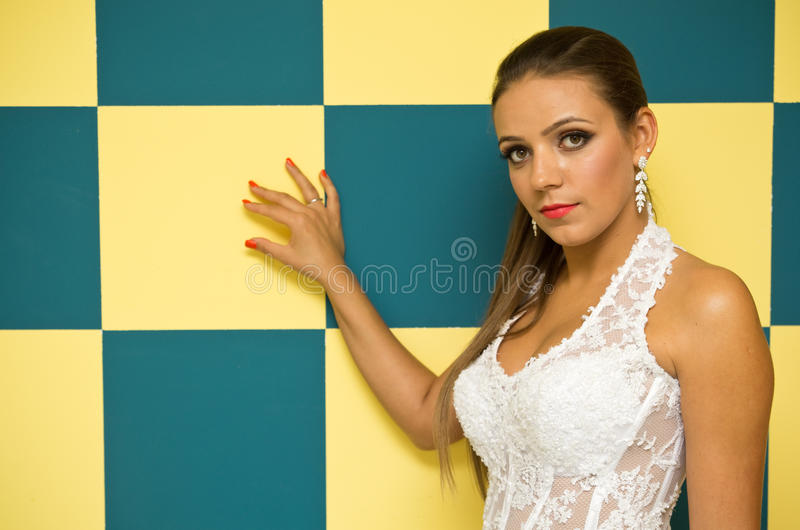 Download Woman with checkered wall stock image. Image of square - 32530257