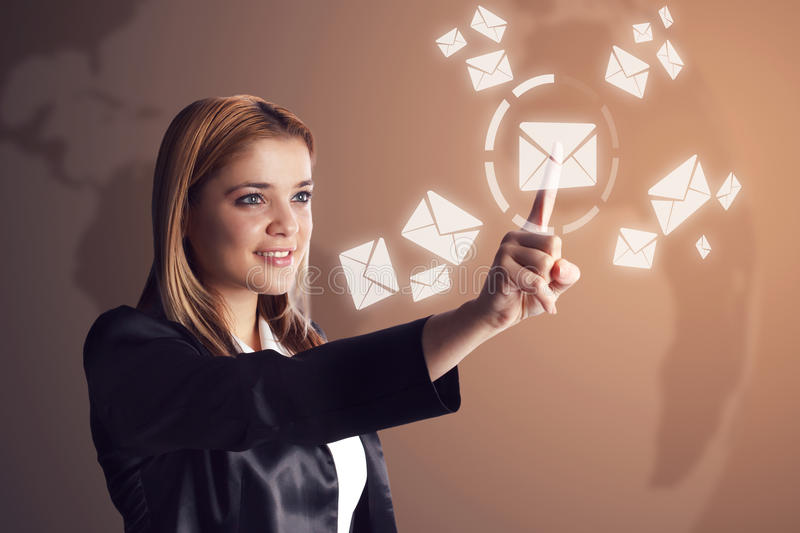 Woman checking her email stock photo