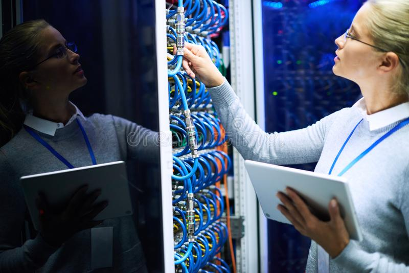 Woman Checking Server Network stock image