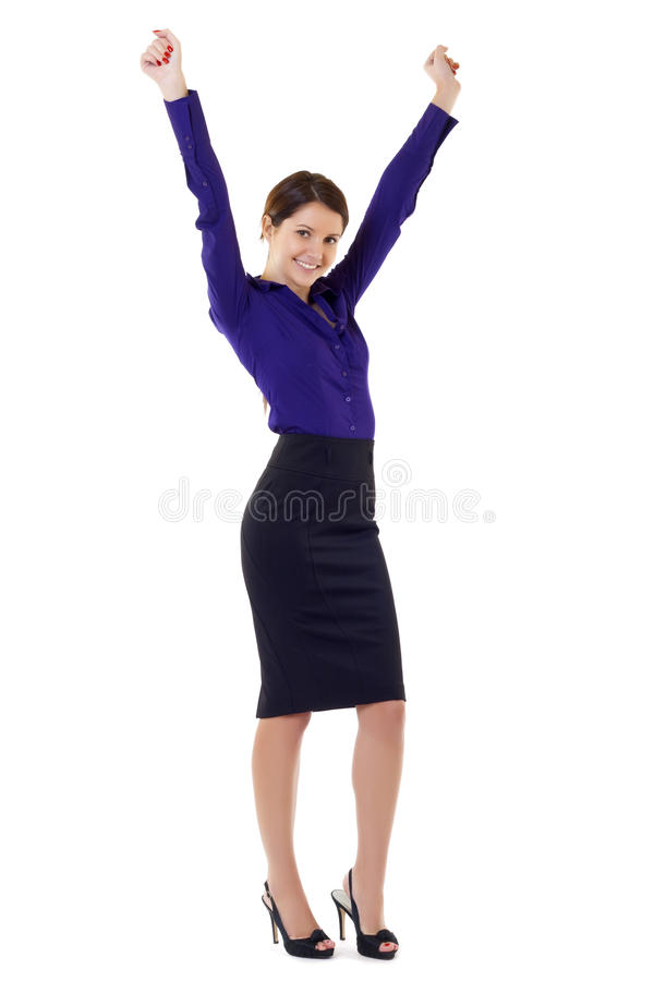Download Woman Cheering With Arms In The Air Stock Photo - Image of cheering, happy: 12759620