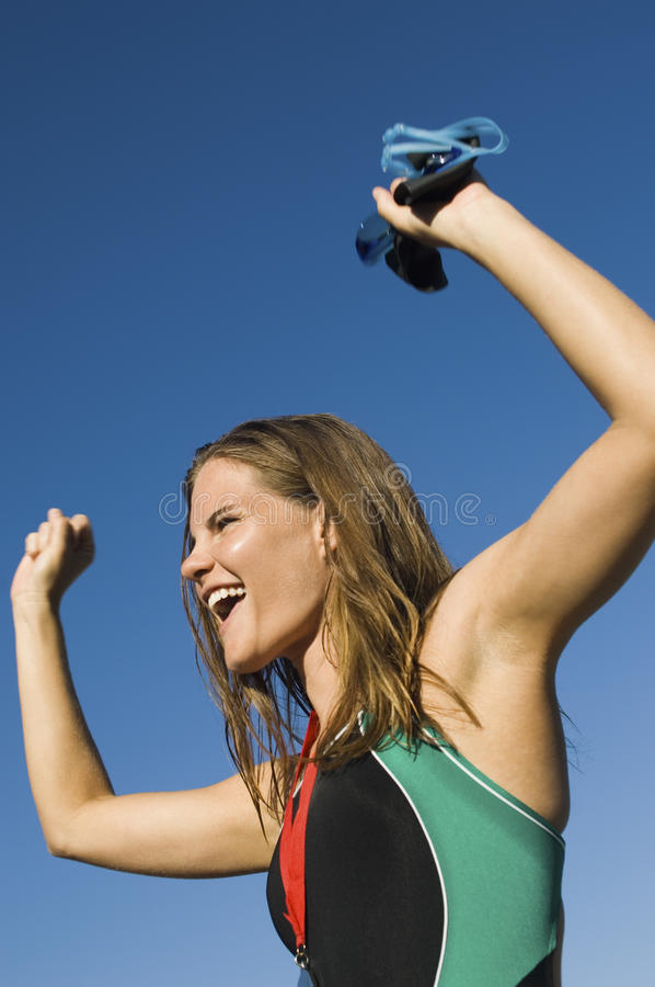 Download Woman Cheering With Arms Raised Stock Image - Image: 29647433