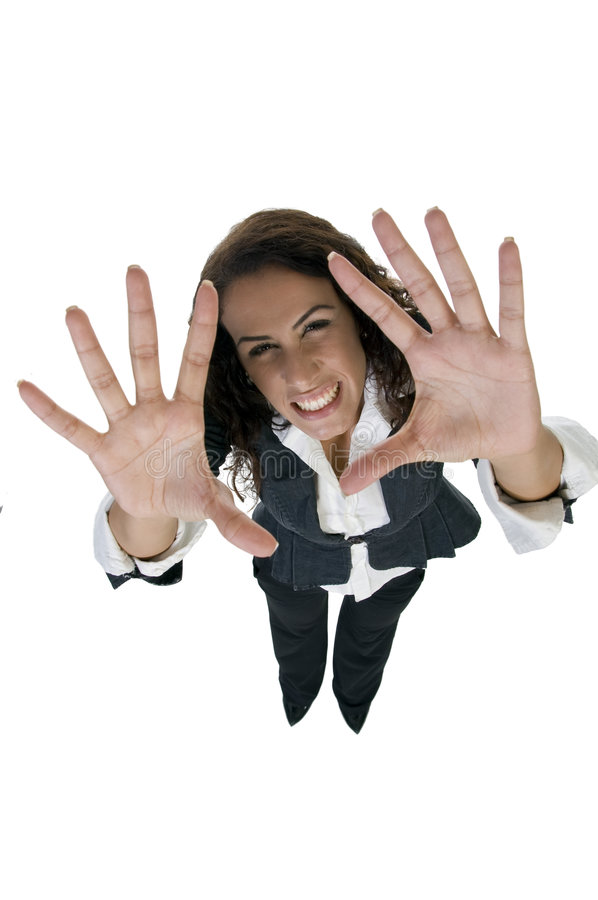 Download Woman cheering with palms stock photo. Image of executive - 6550342